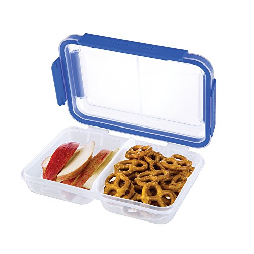 Snap Seal - SnapLock by Progressive Split Container - Blue, SNL-1002B Easy-To-Open, Leak-Proof Silicone Seal, Snap-Off Lid, Stackable, BPA FREE