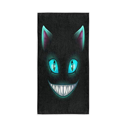 Pinbeam Bath Towel Blue Fantasy Scary Smiling Cat Face on Cheshire Towel Beach Towel