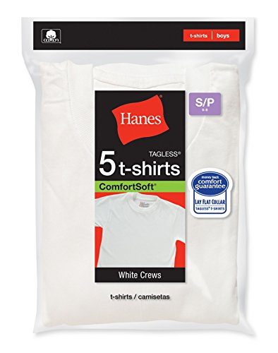 Hanes Boys Crewneck T-Shirt 5 Pack, XL,White