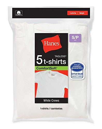Hanes Boys Crewneck T-Shirt 5 Pack, XL,White (Boys Tagless T-shirt Crewneck)