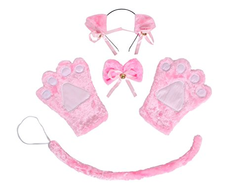 [JustinCostume Cat Cosplay Set Ears Tail Collar Paws, Pink] (Cat Ears And Tail Set)