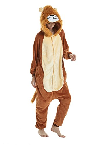 Yusongirl Kid Animal Pajamas Cosplay Costume Onesies Homewear Nightclothes Sleepwear Unisex Halloween Christmas (L (Height:65.7-69.7 inch), Lion) ()