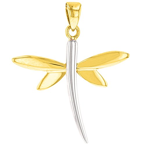 Solid 14K Yellow Gold Dragonfly Charm Pendant with High Polish Finish