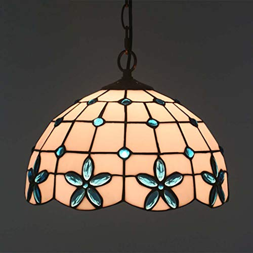Tiffany Style Chandelier Retro, Lilac Flower Decoration Glass Light Shade Ceiling Lamp, Hanging Lamp for Bedroom Dining Room, Max 40W X 1, E27/E26,Blue