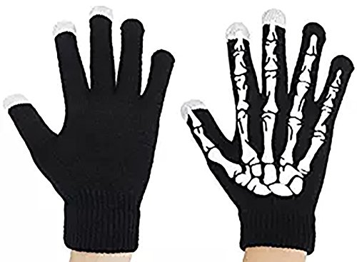Wicky LS Unisex Touchscreen Gloves Glow in The Dark Skeleton Knit Gloves (One Size, Fluorescence)
