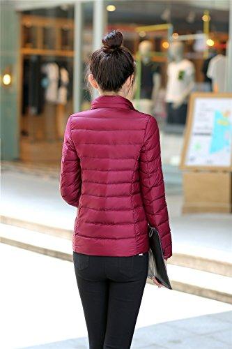 Bordeaux Zipper Veste Quibine Doudoune Chaud Manteau Léger Femme D'hiver w8x1nqaTZ