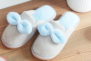 De mujeres otoño e invierno lindo arco a caliente algodón zapatillas indoor Inicio anti - zapatillas antideslizantes , gray , 35
