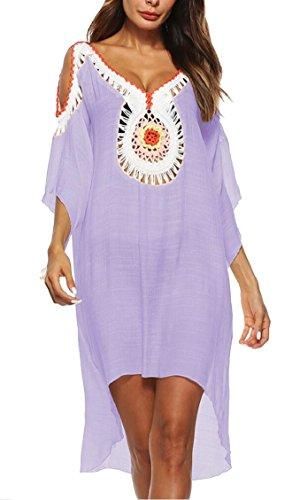 Pool Shoulder Suit Bathing Purple Cold Jaycargogo Cover Women's Swimwear up Crochet 0wE1RHq
