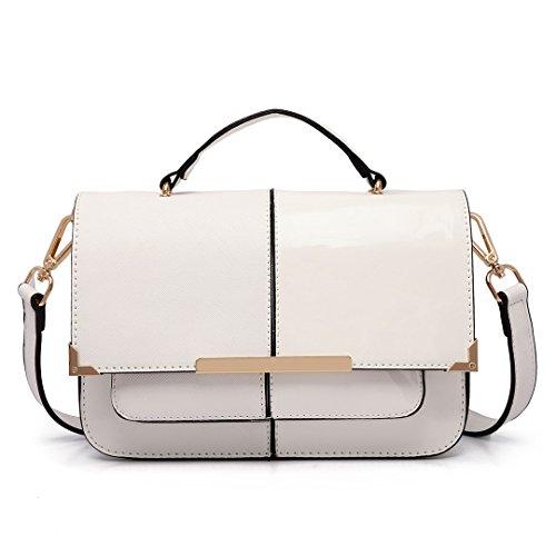 Miss Lulu , Damen Satchel-Tasche weiß weiß