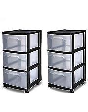$66 » 3 Drawer Organizer Cart Black Plastic Craft Storage Container Rolling Bin Set 2