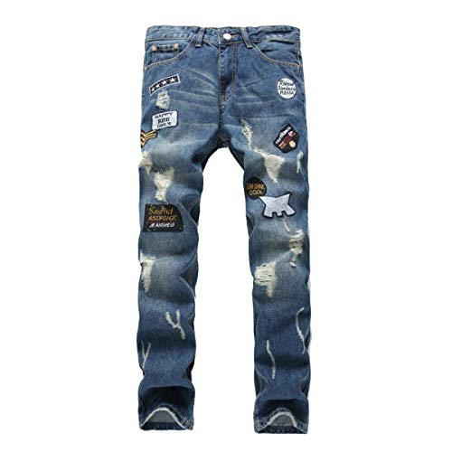Denim Comfortable Her Leisure Jeans Skinny Battercake Slim Pants Straight Cher Cotton Trousers Holes Men's Ribbed Blue Fit x0Eqv75w