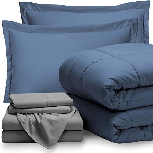 Bare Home Bed-in-A-Bag 7 Piece Comforter & Sheet Set - Queen - Goose Down Alternative - Ultra-Soft 1800 Premium - Hypoallergenic - Bare Breathable Bedding (Queen, Coronet Blue/Light (Ultrasoft Queen Bed Sheets)