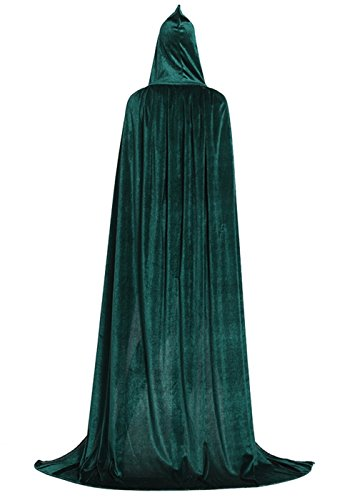 ALIZIWAY Hooded Cloak Full Long Velvet Cape for Halloween Cosplay Costume Cloak Green 06GL -