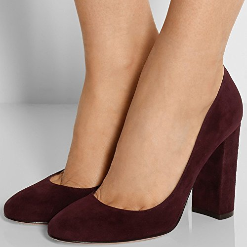 Women's Fashion Heel Sexy Shoes Winesuede Party Chunky High Pump AIWEIYi d1xqn56d