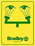 Bradley 114-051 Eyewash Safety Sign, Yellow
