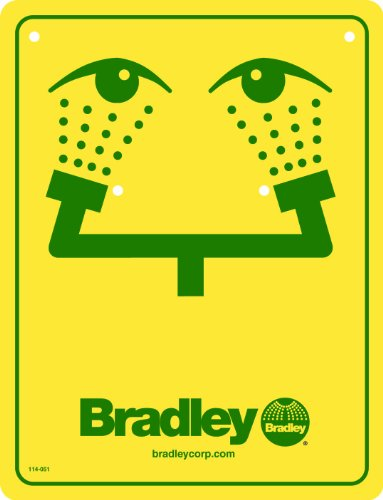 Bradley 114-051 Eyewash Safety Sign, Yellow - Bradley Eye Wash