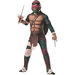 Teenage Mutant Ninja Turtles Deluxe Muscle-Chest Raphael Costume, Child Small (Size 4-6) with 2 Sai Weapons Included