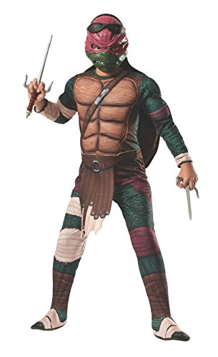 Teenage Mutant Ninja Turtles Deluxe Muscle-Chest Raphael Costume, Child Small (Size 4-6) with 2 Sai Weapons Included -
