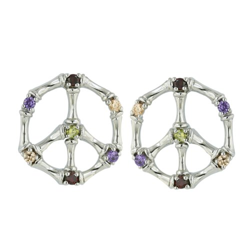 .925 Sterling Silver PEACE SIGN Stud Earring