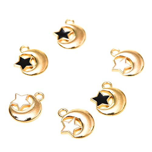 Monrocco 40pcs Gold Plated Moon and Star Charms Alloy Crescent Moon Pendant Charms for DIY Jewelry Making
