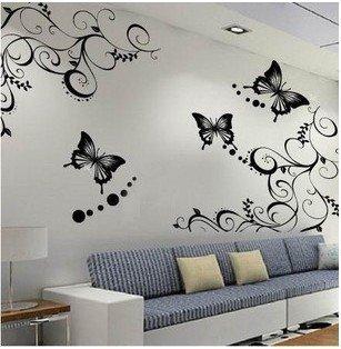 decalcomanie adesivi da parete 60*100cm floreale nero farfalla ... - Decorazioni Per Pareti Interne