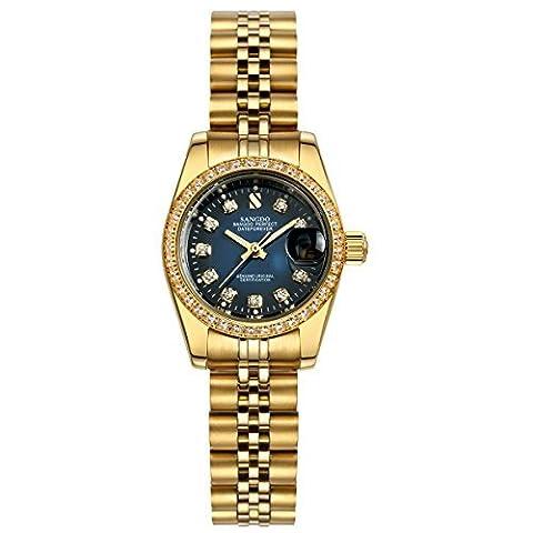 Topwatch® Sangdo Women's Diamond-Accented Bezel Blue Dial steel Automatic Mechanical wrist Watch (Sangdo Automatic Watches)