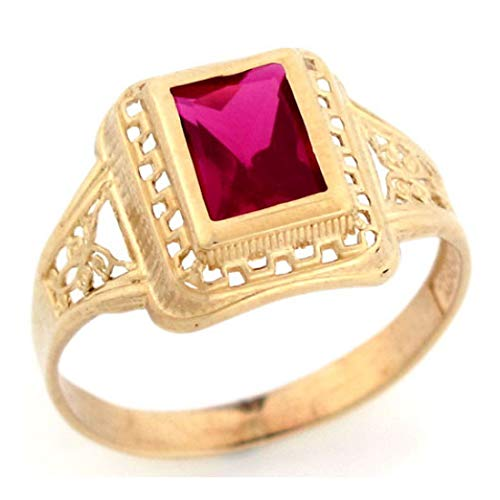 (10k Solid Yellow Gold Simulated Ruby July Birthstone Filigree Unisex Ring (Style# 2812) - Size 8)