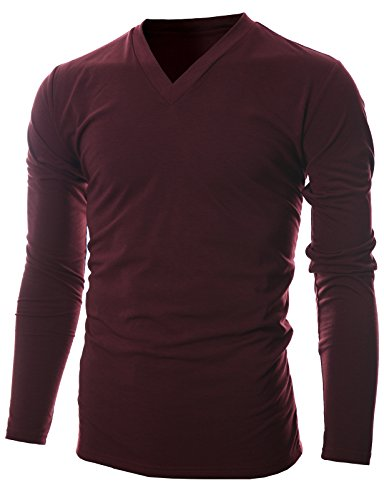 GIVON Mens Slim Fit Soft Cotton Long Sleeve Lightweight Thermal V-Neck T-Shirt /DCP043-BURGUNDY-S
