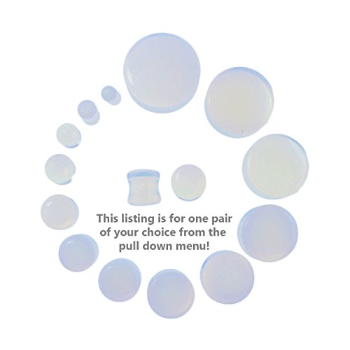 "Pair of Genuine Opalite Double Flare Stone Organic Ear Plugs 10G-1"" Gauge"