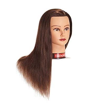 "20-22"" 100% Human hair Mannequin head Training Head Cosmetology Manikin Head Doll Head with free Clamp"