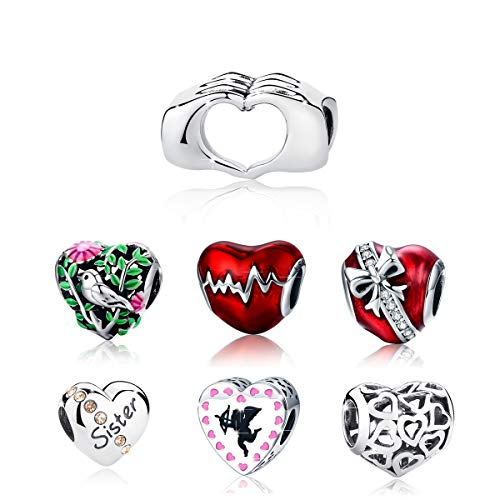 BAMOER 925 Sterling Silver Heart Charm Bead Love Charm Fit for Snake Chain Bracelet Love in Your Hands Charm