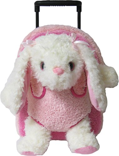 Kreative Kids Adorable Pink Bunny Rolling Backpack w/Shiny Eyes, Removable Stuffie & Wheels