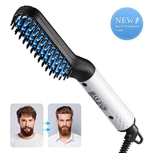 Electric Beard Comb, Beard Straightener for men, RIOFLY Electric Beard Hair Straightener Brush Comb, Multifunctional Hair Styler, Fast Shaping for Beard Grooming, Hair Styling Tools for Men