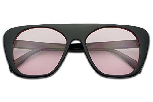Bold Round Square Flat Top Boyfriend Fit Aviator Sun Glasses W/ Color Lens (Black, - Nyc Eyewear See