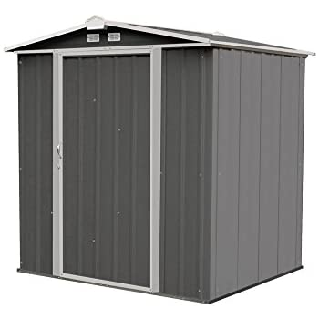 arrow ez6565lvcccr 6 x 5 steel storage shed in charcoal with cream trim
