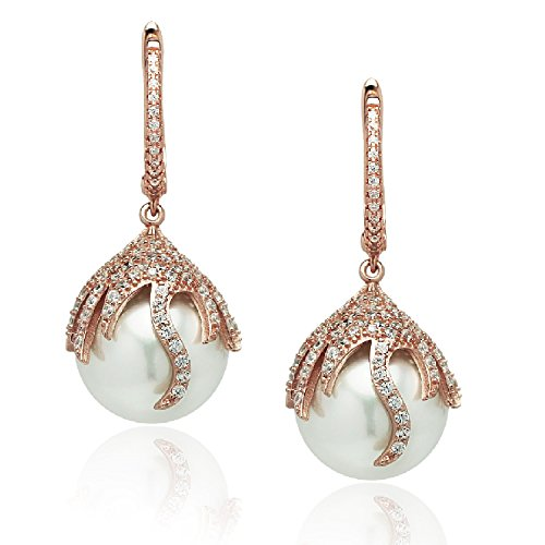 Gold Simulated Pearl (925 Sterling Silver Dangle Earrings, 14mm White Simulated Pearl, CZ Border, Rose Gold Tone, By Piers)