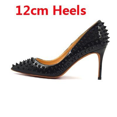 Tacón 12cm Partido Bajo Alto Shoes Mujeres Dedo Remaches Tacones Spike Las Black Altos El Clásica Pie Puntiagudo del Lady Zapatos del Studs De De VIVIOO Party Delgados Moda AqwCfdA