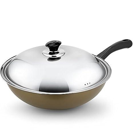 Wok cocina de inducción gas gas universal antiadherente Pan ...