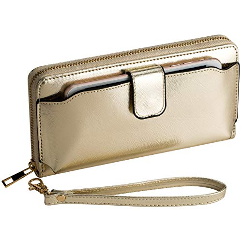 Heaye Women Wristlet Wallet with Cell Phone Holder RFID Blocking Zip Around Wallet PU ()