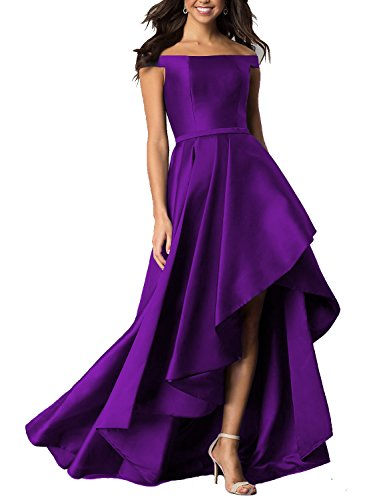 9185f36394d6 Monalia Womens 2018 Off Shoulder Prom Dress High Low Party Homecoming  Dresses MP108 Size 10 Purple