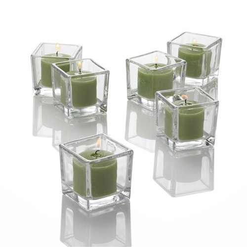 144 Green Richland Votive Candles and 144 Square Votive - 144 Square Holders