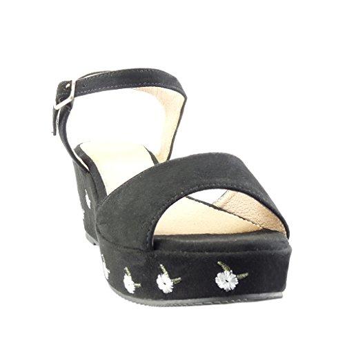 Angkorly - Zapatillas de Moda Sandalias Mules zapatillas de plataforma mujer flores bordado Talón Plataforma 6.5 CM - Negro