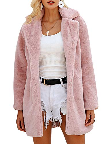 (BerryGo Women's Shaggy Faux Fur Coat Long Sleeve Thick Jacket Outwear with Pocket Light Pink,L)