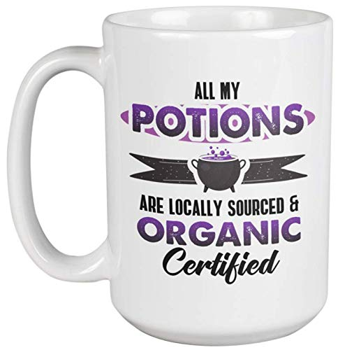 All My Potions Are Locally Sourced And Organic Clever Halloween Coffee & Tea Gift Mug For A Chemist, Pharmacist, Nutritionist, And Sales Rep For Nutrition Supplements (15oz)]()