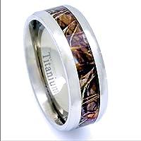 Titanium Camouflage Hunting Men's Ring Beveled Edge Comfort Fit 8MM