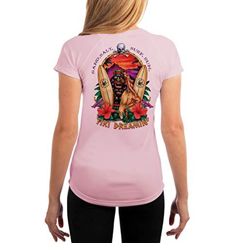 (SAND.SALT.SURF.SUN. Tiki Women's UPF 50+ Short Sleeve T-Shirt XX-Large Pink Blossom)