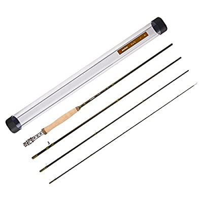 Piscifun Sword Graphite Fly Fishing Rod 4 Piece 9ft - IM7 Carbon Fiber Blank - Accurate Placement - Ingenious Design - Chromed Guide and Durable Rod Tube (Size: 4/5/6/7/9wt) from Piscifun