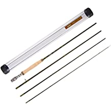 Piscifun Sword Graphite Fly Fishing Rod 4 Piece 9ft - IM7 Carbon Fiber Blank - Accurate Placement - Ingenious Design - Chromed Guide and Durable Rod Tube (Size: 4/5/6/7/9wt)