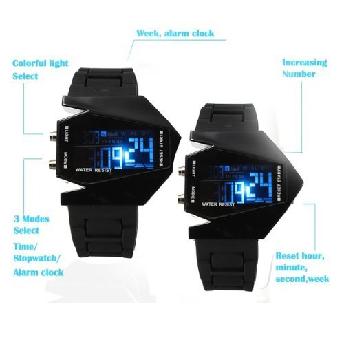 ShoppeWatch Elegant Plane Style Digital Display LED Silicone Wrist Watch Black