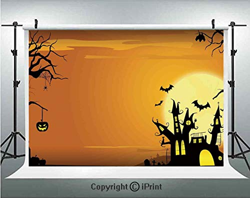 Halloween Decorations Photography Backdrops Gothic Haunted House Bats Western Spooky Night Scene with Pumpkin,Birthday Party Background Customized Microfiber Photo Studio Props,7x5ft,Orange Black -